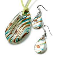 Necklace & Pendants - fringe pattern oval murano glass pendant earrings set Image.
