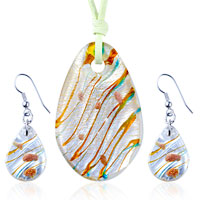 Necklace & Pendants - 3  pieces of silver foil orange multicolored oval pendant earring set Image.