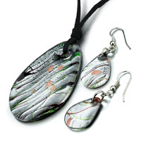 Necklace & Pendants - silver foil brown multicolored oval pendant earrings set Image.