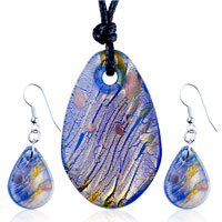 Necklace & Pendants - gold foil purple multicolored oval pendant earrings set Image.