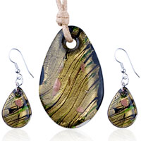 Necklace & Pendants - gold foil black multicolored oval pendant earrings set Image.