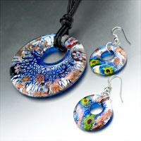 Necklace & Pendants - silver foil blue millefiori sparkling pendant earrings set Image.