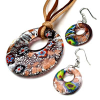 Necklace & Pendants - silver foil pink millefiori sparkling pendant earrings set Image.