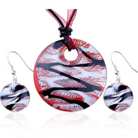 Necklace & Pendants - silver foil black stripes round murano glass pendant earring set Image.