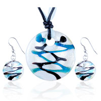 Necklace & Pendants - turquoise black stripes pearl white pendant earrings set Image.