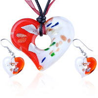 Murano Glass Jewelry - 3  pcs red white speckled heart pendant earring set murano glass necklace Image.