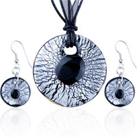Necklace & Pendants - silver foil black stone crusted round pendant earrings set Image.