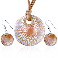 Necklace & Pendants - silver foil orange crusted round murano glass pendant earrings set Image.