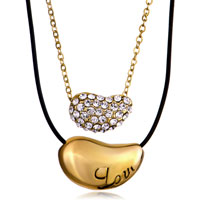 Necklace & Pendants - love red berries with clear crystal couple gold plated necklace pendant Image.