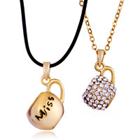 Necklace & Pendants - 18 k gold plated miss smooth clear crystal couple teacup necklace pendant Image.