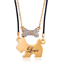 Necklace & Pendants - 18 k gold plated puppy bowknot clear crystal love couple necklace pendant Image.