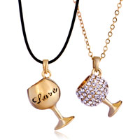 Necklace & Pendants - 2  pieces of smooth clear crystal couple love goblet gold pendant earrings Image.