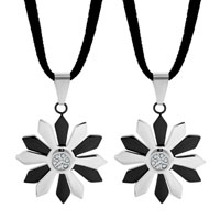 Necklace & Pendants - clear crystal open flower stainless steel pendant necklace couples jewelry set Image.