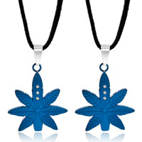 Necklace & Pendants - blue maple leaf pendant necklace clear crystal couples jewelry set Image.