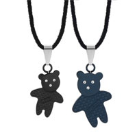 Necklace & Pendants - clear crystal eternal love cute teddy bear pendant necklace couples jewelry set Image.