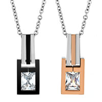 Necklace & Pendants - clear asscher cut cubic zirconia cz diamond accent tag pendant necklace couples jewelry set for men women teens boys girls Image.