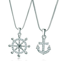 Necklace & Pendants - 2  pieces of clear crystal rudder ad hooks couple pendant lovers earrings Image.