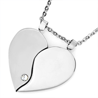 Necklace & Pendants - smooth heart april birthstone clear crystal lover pendant set Image.
