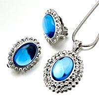Earrings - 3  pieces of september birthstone blue drop resin pendant earring set Image.