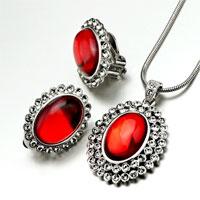 Earrings - 3  pieces of january birthstone garner drop resin pendant earring set Image.
