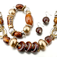 Necklaces - 4  pieces of resin bracelet earrings set pendant necklace jewelry Image.