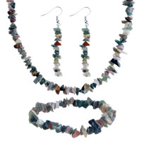 Necklaces - chip stone charms set 4 pieces of colori tigereye beaded jewelry set Image.