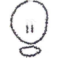 Necklaces - chip stone charms set amethyst purple unakite jewelry sets dangle earrings fashion bead aragonite stone Image.