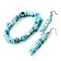 Keywords - chip stone charms set 3 pieces turquoise gemstone nugget chips stretch earrings bracelets Image.