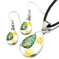 Necklace & Pendants - murano glass millefiori green color drop pendant and earings jewelry set Image.