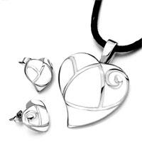 Earrings - silver/ p open heart pattern white drip pendant earrings jewelry set Image.