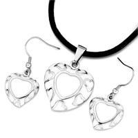 Earrings - silver tone heart little white drip pendant earrings jewelry set Image.
