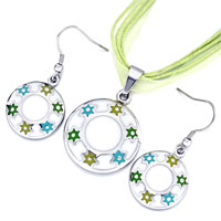 Earrings - karma necklaces silver/ p round colorful flowers pendant earrings set Image.