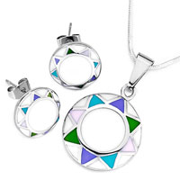 Earrings - karma silver/ p round colorful triangle pendant earrings jewelry set Image.