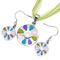 Earrings - karma silver/ p round colorful drip drop pendant earrings jewelry set Image.