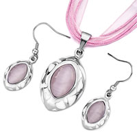 Earrings - classic oval pattern white drip pink cat eye pendant earrings set Image.