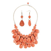 Necklace & Pendants - light orange semi precious turquoise stone pendant bubble bib statement necklace Image.