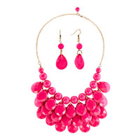 Necklace & Pendants - statement necklace rose red semi precious turquoise stone bubble bib statement pendant necklace Image.