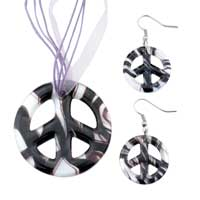 Necklace & Pendants - black peace sign pendant &  earring murano glass jewelry set Image.