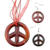 Necklace & Pendants - red peace sign pendant &  earring murano glass jewelry set Image.