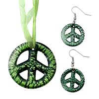 Necklace & Pendants - green circle pattern pendant earring set for women Image.