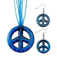 Necklace & Pendants - blue circle pattern pendant earring set for women Image.