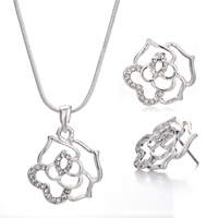 Necklace & Pendants - fashion vintage rose flower crystal cz pendant necklace earrings set Image.