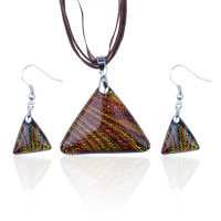 Murano Glass Jewelry - tan triangular fused dichroic pendant and earring murano glass set Image.
