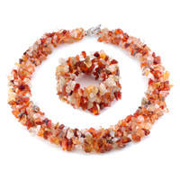 Necklace & Pendants - chip stone charms set multi strands red yellow gemstone chips stone cluster jewelry Image.