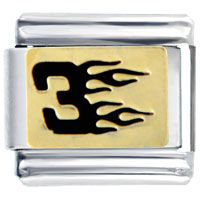 Italian Charms - number three with flames italian charms bracelet link Image.