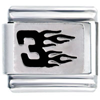 Italian Charms - sport black number three in flames italian charms bracelet link Image.