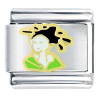 Italian Charms - lady green kimono italian charm bracelet bracelet link Image.