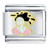 Italian Charms - lady pink kimono italian charm bracelet bracelet link Image.