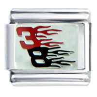 Italian Charms - number 38  in flames sport italian charms bracelet link Image.