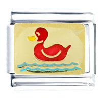 Italian Charms - red duck on water animal italian charms bracelet link Image.